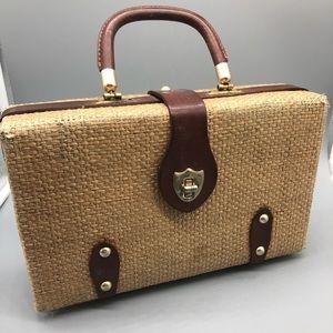 Vintage top handle woven straw and leather handbag